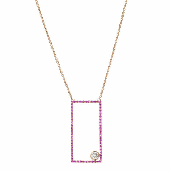 AX-Rectangle Necklace | Pink Sapphire & Diamond Bezel Necklace