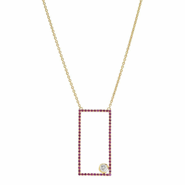 AX-Rectangle Necklace | Ruby & Diamond Bezel Necklace