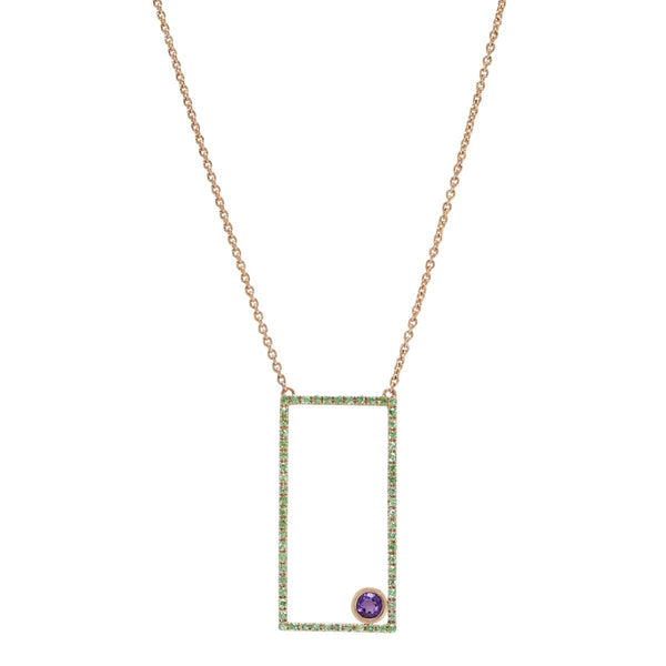 AX-Rectangle Necklace | Tsavorite & Amethyst Bezel Necklace