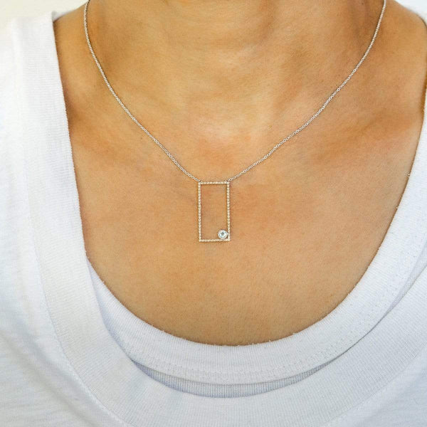 AX-Rectangle Necklace | Yellow Sapphire & Aquamarine Bezel Necklace