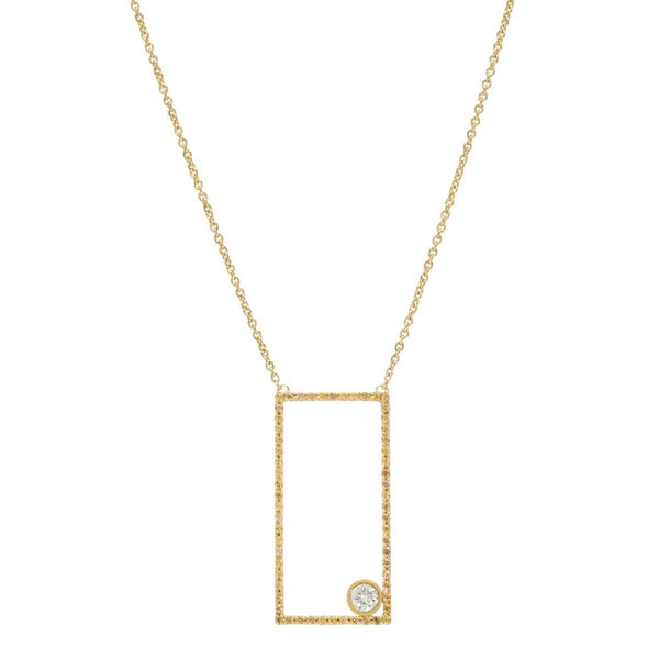 AX-Rectangle Necklace | Yellow Sapphire & Diamond Bezel Necklace