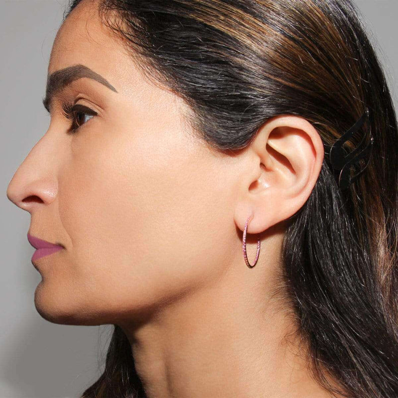 AX-Round Hoop Earrings | Rose Gold & Pink Sapphire Earrings