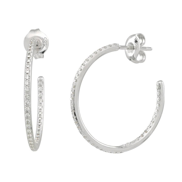 AX-Round Hoop Earrings | White Gold & Diamond Earrings