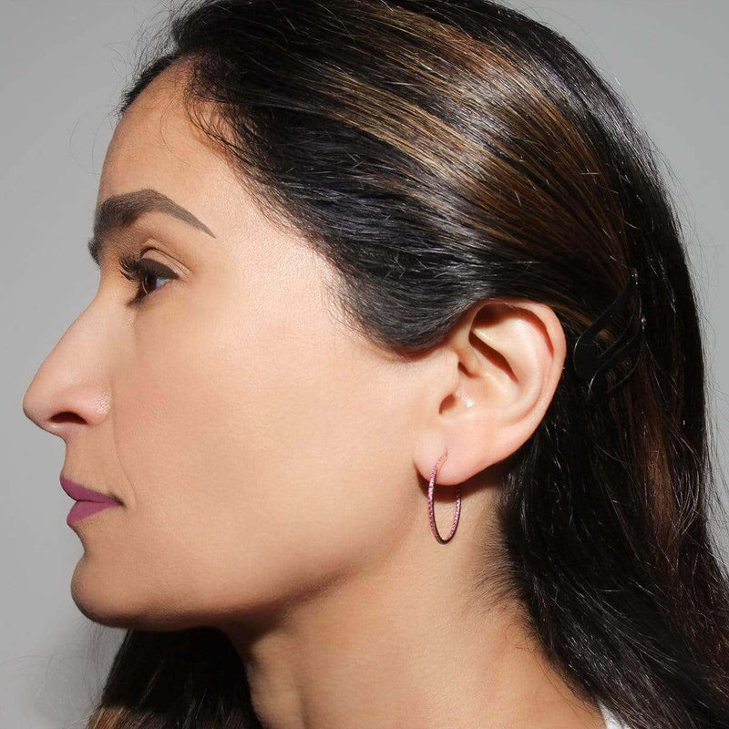 AX-Round Hoop Earrings | Yellow Gold & Ruby Earrings