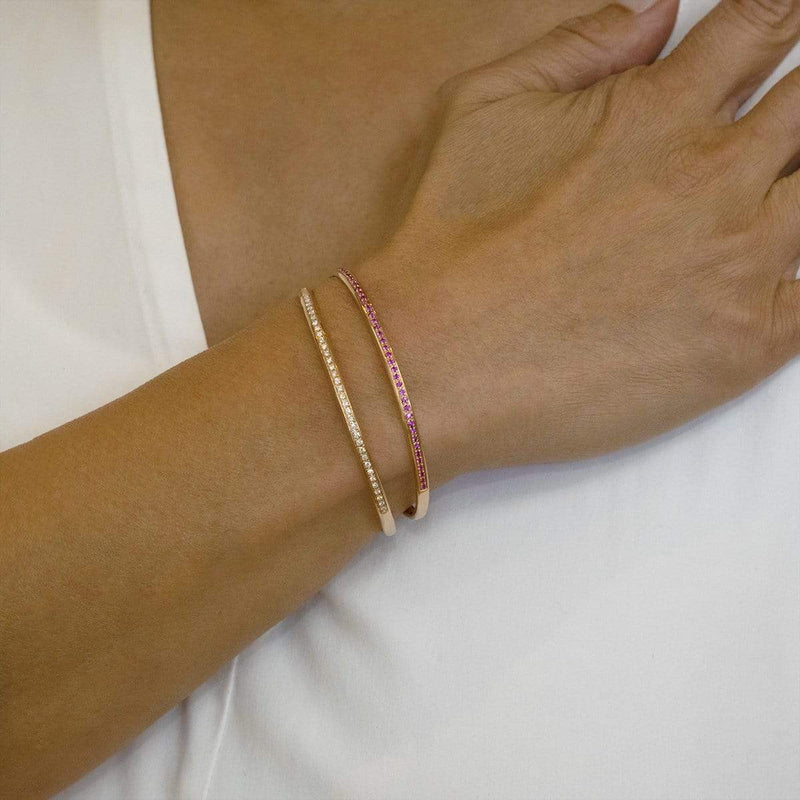 AX-Single Row Cuff | Rose Gold & Pink Sapphire Bracelet/Cuff