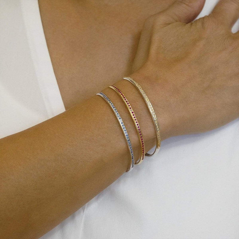AX-Single Row Cuff | White Gold & Blue Sapphire Bracelet/Cuff