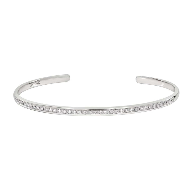 AX-Single Row Cuff | White Gold & Diamond Bracelet/Cuff