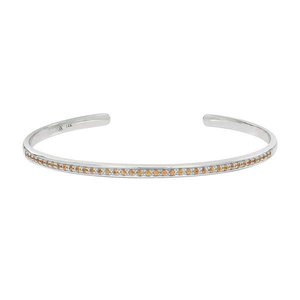 AX-Single Row Cuff | White Gold & Yellow Sapphire Bracelet/Cuff
