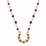 AX-Susanne Fancy Horseshoe Necklace | Rose Gold, Black Diamonds & Black Diamond Beads Necklace