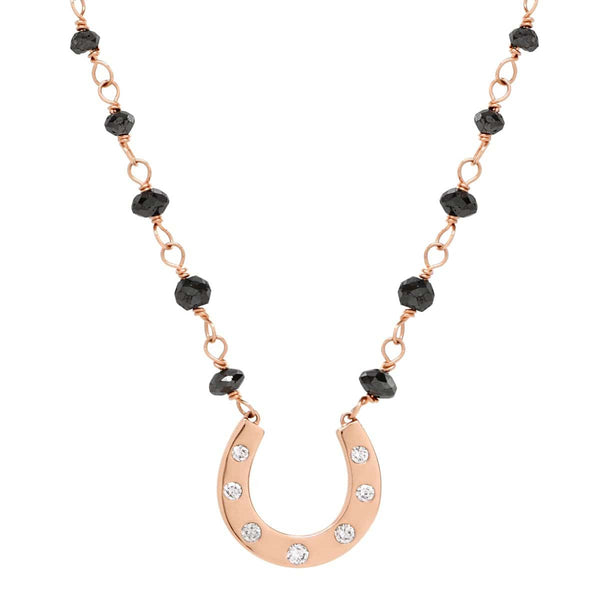 AX-Susanne Fancy Horseshoe Necklace | Rose Gold, Diamonds & Black Diamond Beads Necklace