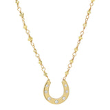 AX-Susanne Fancy Horseshoe Necklace | Yellow Gold, Diamonds & Yellow Diamond Beads Necklace