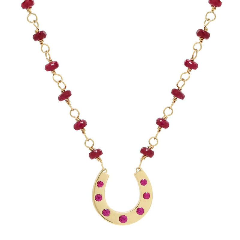 AX-Susanne Fancy Horseshoe Necklace | Yellow Gold, Rubies & Ruby Beads Necklace