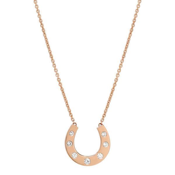 AX-Susanne Simple Horseshoe Necklace | Rose Gold & Diamond Necklace