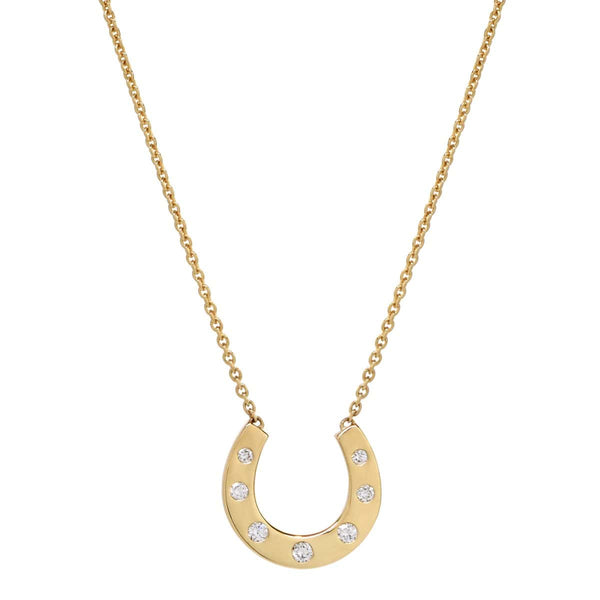 AX-Susanne Simple Horseshoe Necklace | Yellow Gold & Diamond Necklace