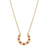 AX-Susanne Simple Horseshoe Necklace | Yellow Gold & Ruby Necklace