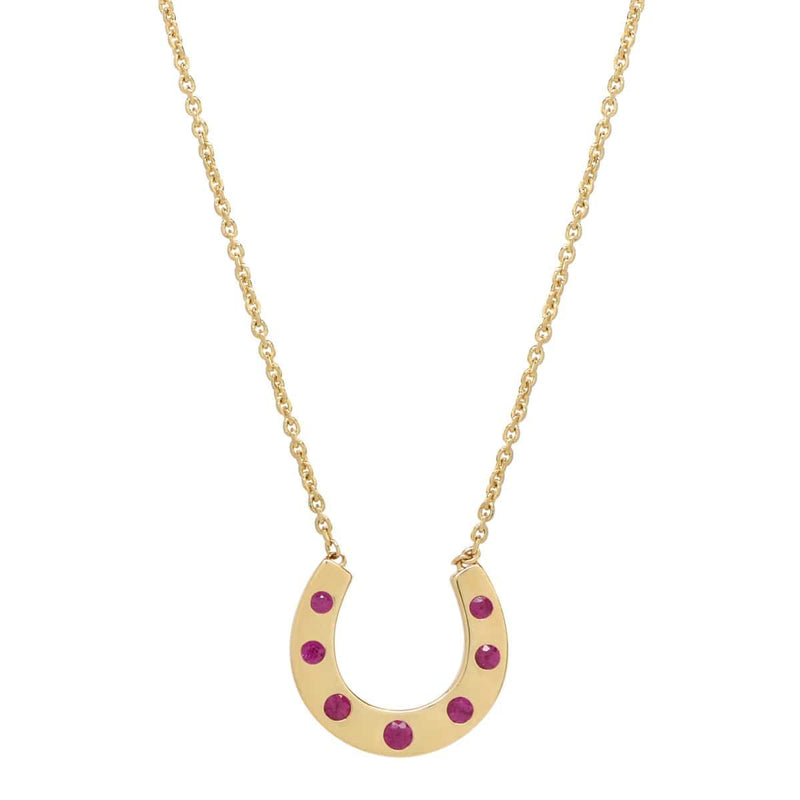 AX-Susanne Simple Horseshoe Necklace | Yellow Gold & Ruby