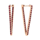 AX-Triangle Hoop Earrings | Rose Gold & Ruby Earrings