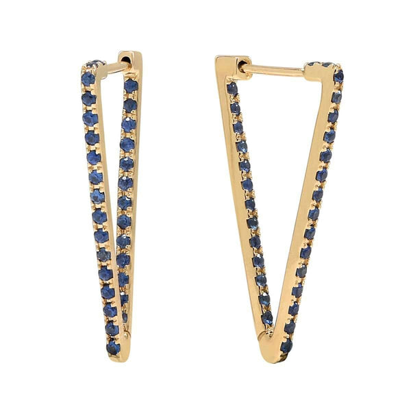 AX-Triangle Hoop Earrings | Yellow Gold & Blue Sapphire
