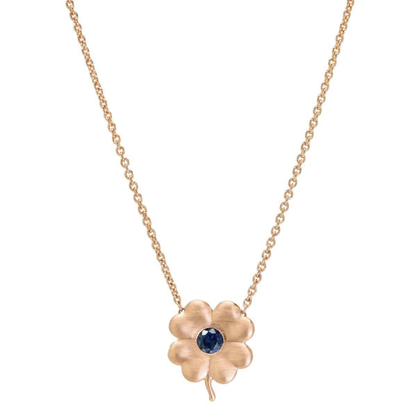 Blue Sapphire Birthstone Clover | September Necklace