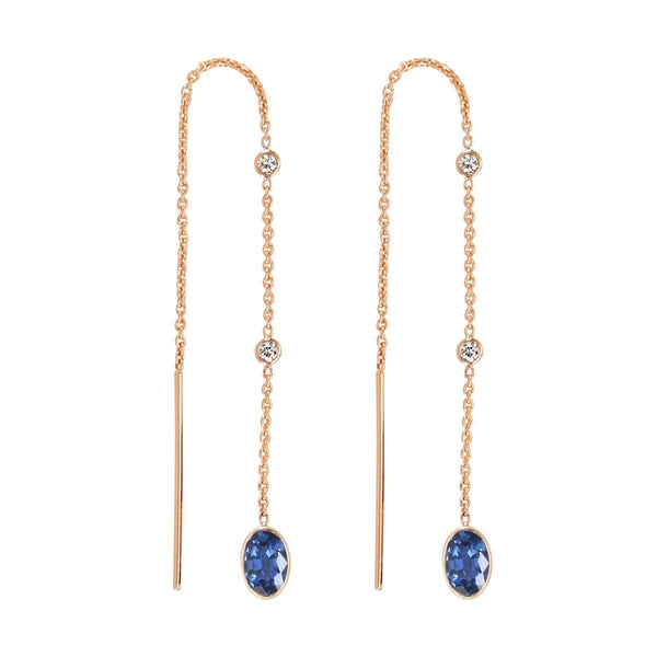 Blue Sapphire Threader Earrings | September Earrings