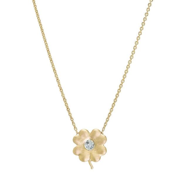 Blue Topaz Birthstone Clover | November Necklace