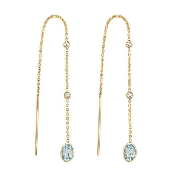Blue Topaz Threader Earrings | November Earrings
