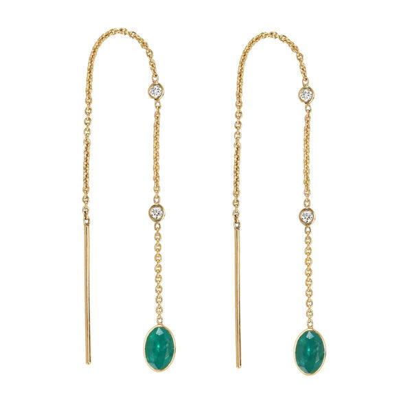 Emerald Threader Earrings | May Earrings