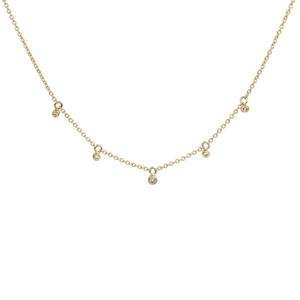 Five Diamond Bezel Drop Necklace Necklace