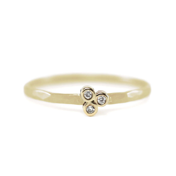 Flower Three Diamond Stack Ring Ring