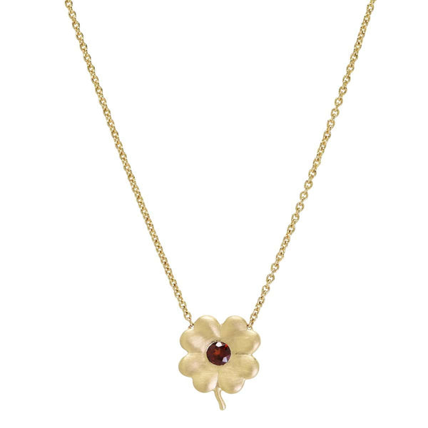 Garnet Birthstone Clover | January Necklace