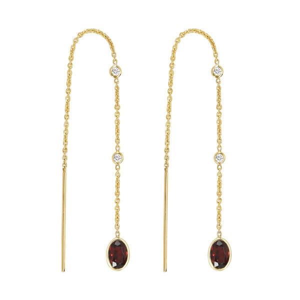 Garnet Threader Earrings | January Earrings