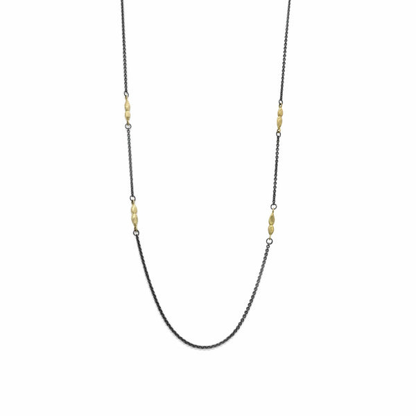 Long Black & Gold Necklace Necklace
