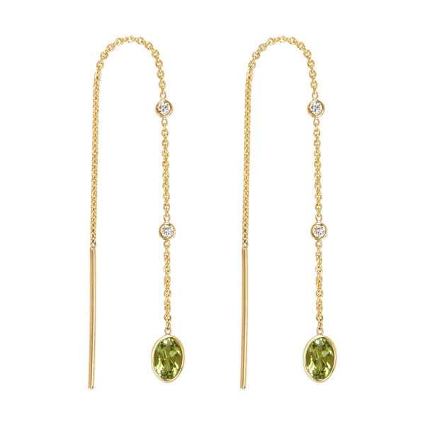 Peridot Threader Earrings | August Earrings