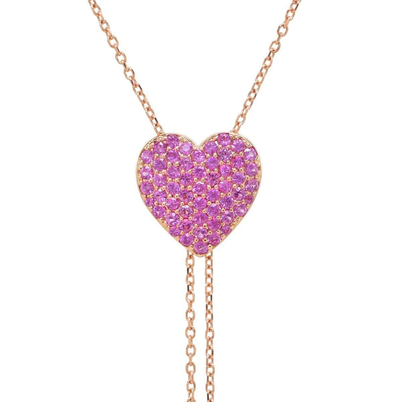 Pink Heart Lariat Necklace