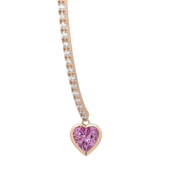 Pink Heart Wishbone Earring | Diamond