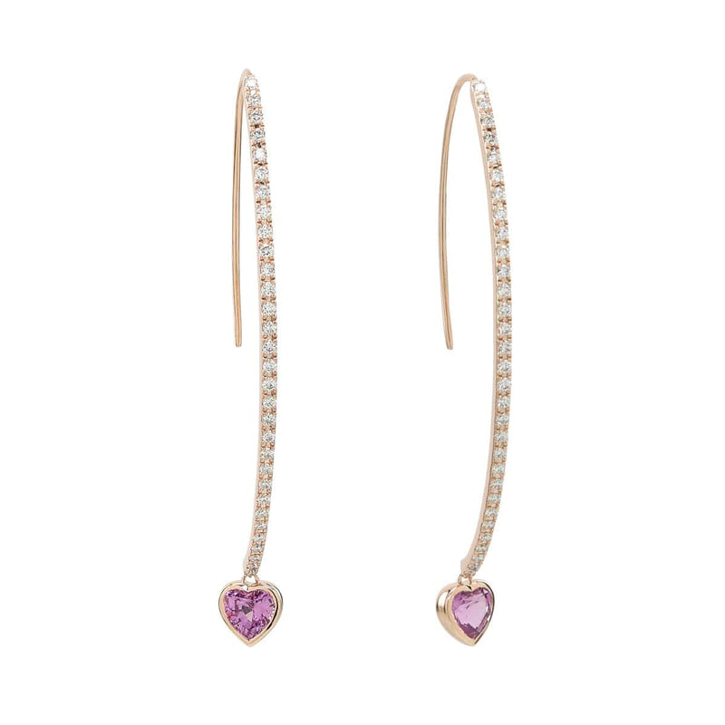Pink Heart Wishbone Earring | Diamond Earrings