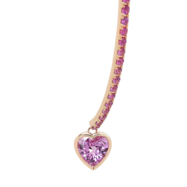 Pink Heart Wishbone Earrings | Pink Sapphire