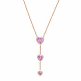 Pink Heart Y Necklace Necklace