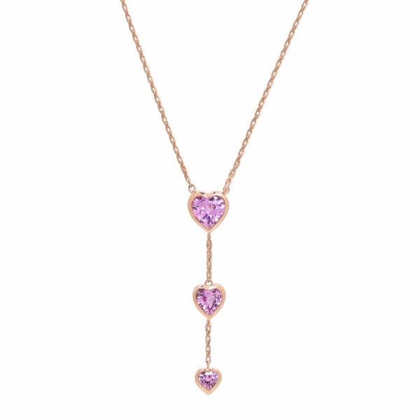 Pink Heart Y Necklace