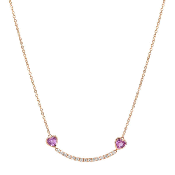 Pink Hearts Smile Bar Necklace