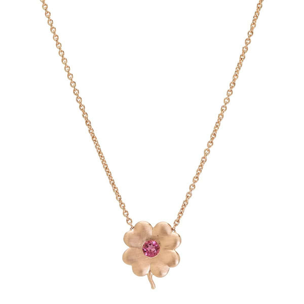 Pink Tourmaline Birthstone Clover | October Necklace