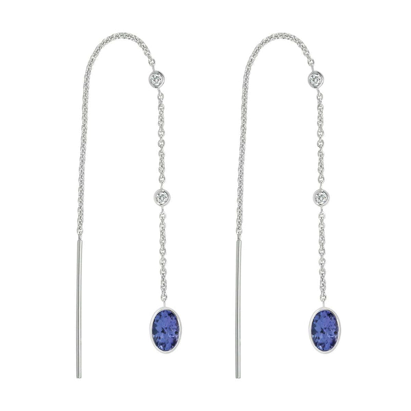 Tanzanite Threader Earrings | December Earrings