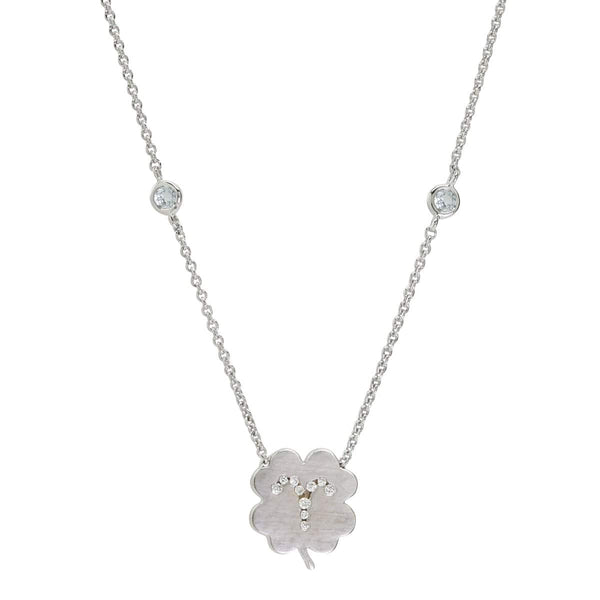 The Aries Zodiac Clover Necklace Aries/Aquamarine