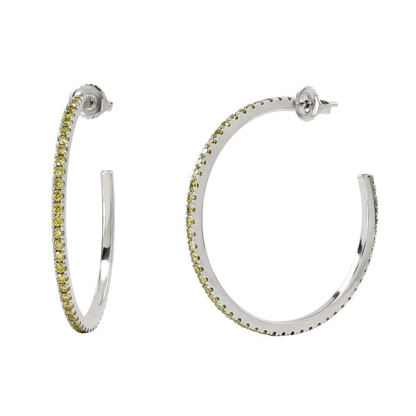 The AX-Party Hoops | Yellow Diamonds & White Gold Earrings