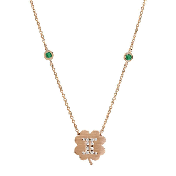 The Gemini Zodiac Clover Necklace Gemini/Emerald