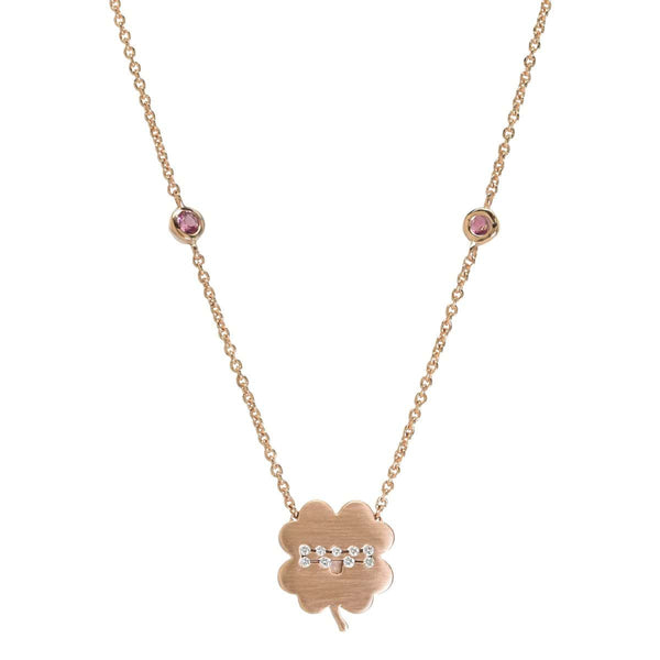 The Libra Zodiac Clover Necklace Libra/Pink Tourmaline