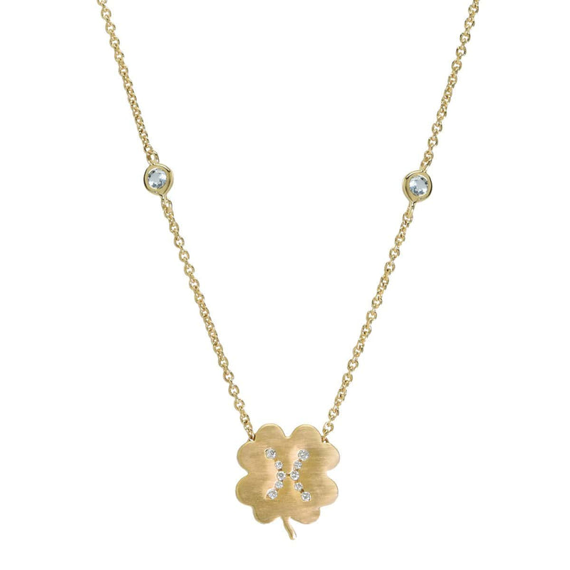 The Pisces Zodiac Clover Necklace Pisces/Aquamarine