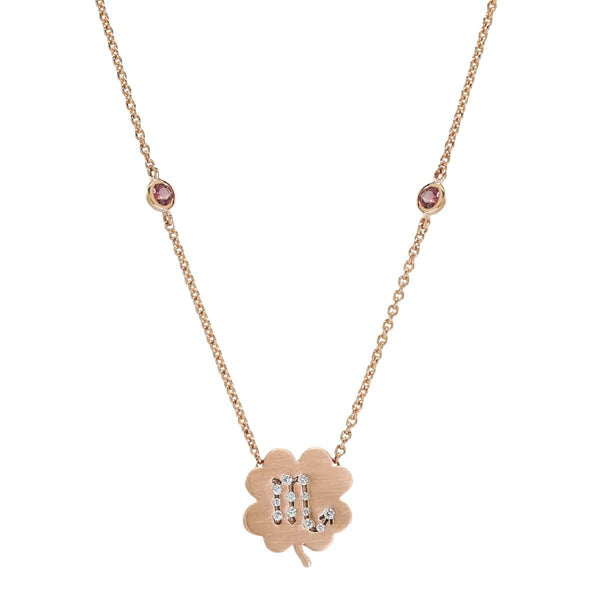 The Scorpio Zodiac Clover Necklace Scorpio/Pink Tourmaline