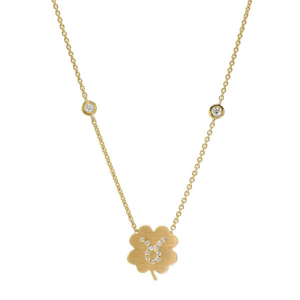 The Taurus Zodiac Clover Necklace Taurus/Diamond
