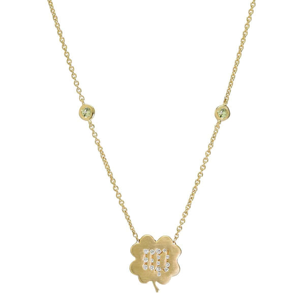 The Virgo Zodiac Clover Necklace Virgo/Peridot